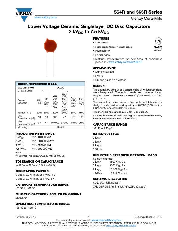 Vishay 564/565R Series Ceramic Disc Capacitors