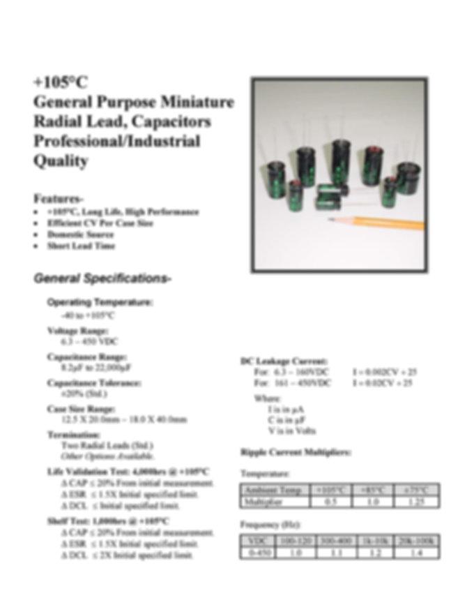 BMI 105RG Series Aluminum Capacitors
