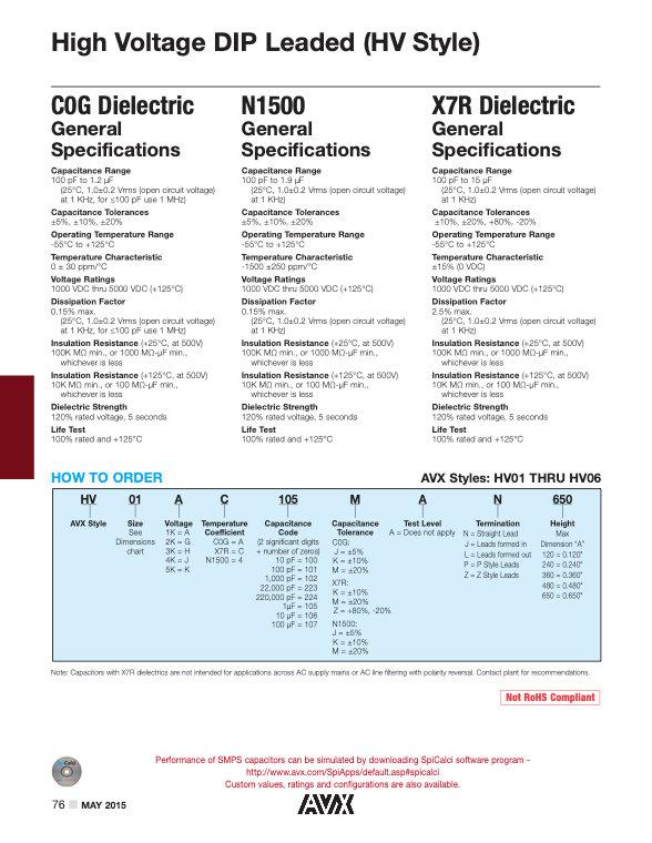 AVX HV Series MLC Capacitors