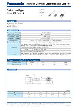 Panasonic KA Series Aluminum Capacitors