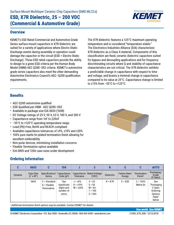 KEMET ESD X7R Series MLC Capacitors