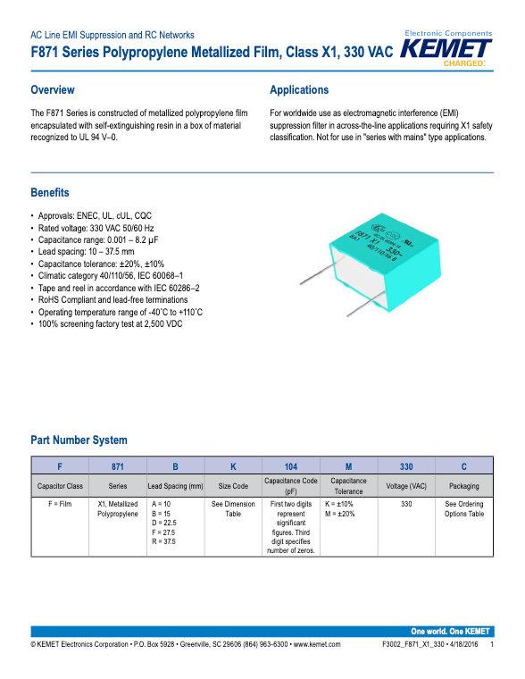 KEMET F871 Series Plastic Film Capacitors