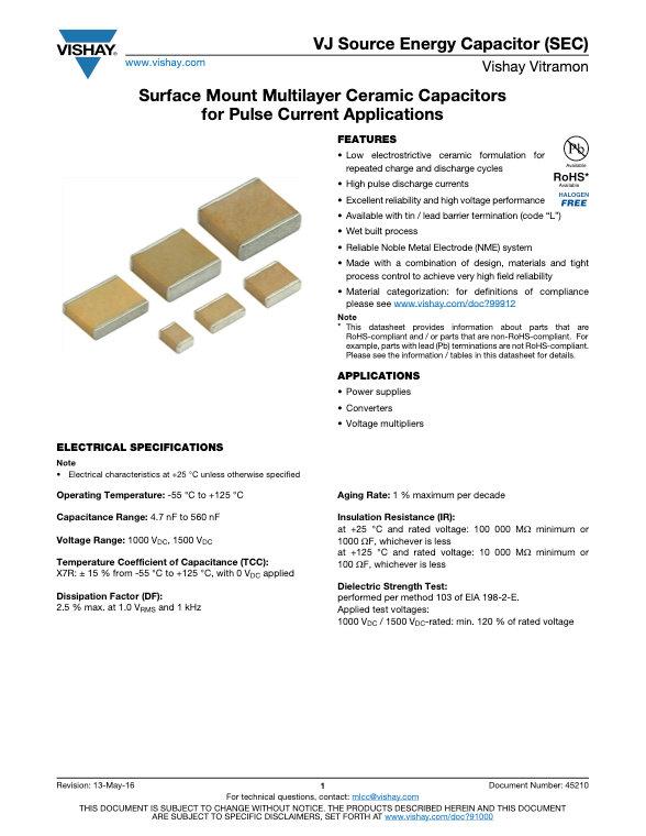Vishay VJ SEC Series MLC Capacitors