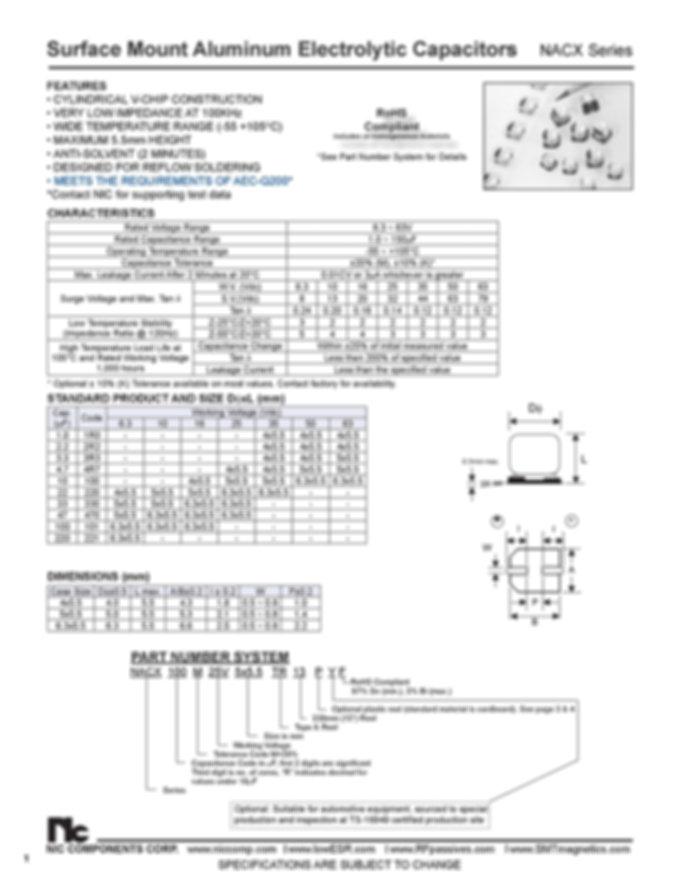 NIC Components NACX Series Aluminum Capacitors