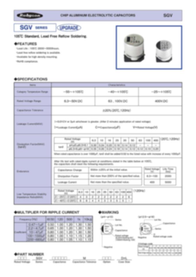 Rubycon SGV Series SMT Aluminum Electrolytic Capacitors