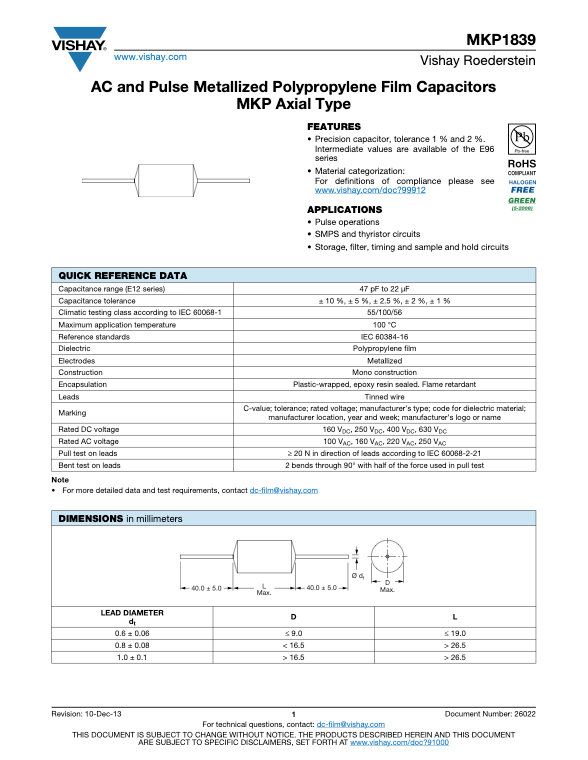 Vishay MKP 1839 Series Plastic Film Capacitors