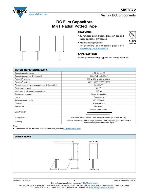 Vishay MKT372 Series Plastic Film Capacitors