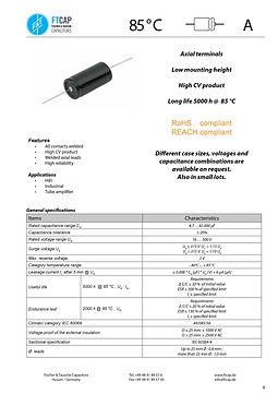 Fischer & Tausche A Series Aluminum Capacitors