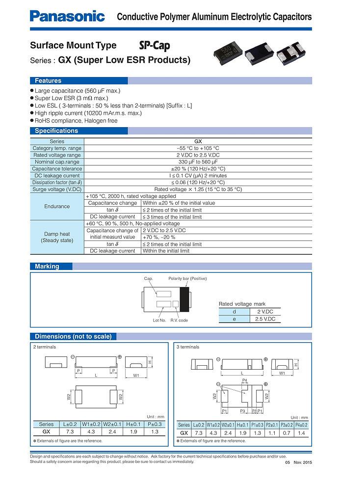 Panasonic GX Series Aluminum Polymer Capacitors