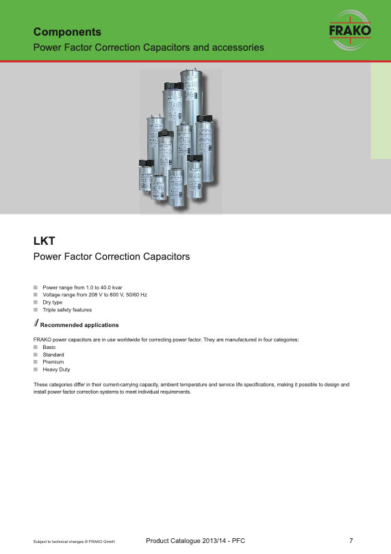 Frako LKT Series Power Factor Correction Capacitors