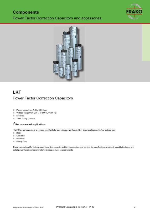 Frako LKT Series Power Factor Correction Capacitors