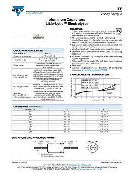 Vishay TE Series Aluminum Electrolytic Capacitors