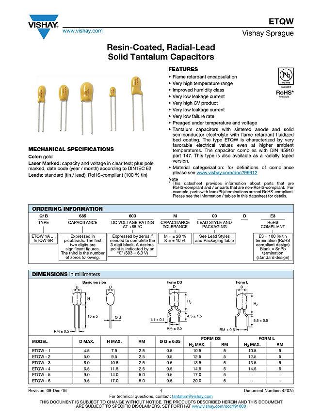 Vishay ETQW Series Tantalum Capacitors