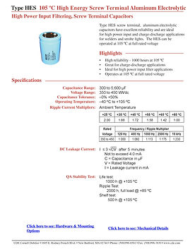 CDE Type HES Aluminum Electrolytic Capacitors