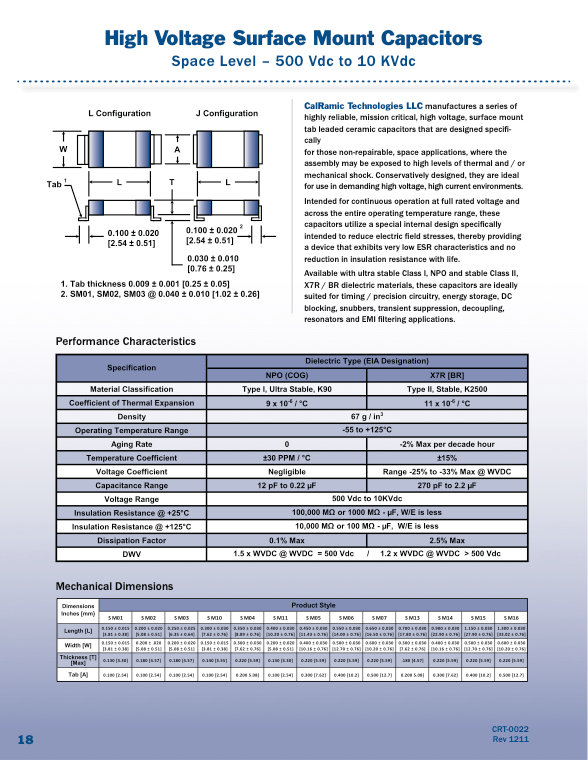Calramic Space Grade SMT High Voltage MLC Capacitors