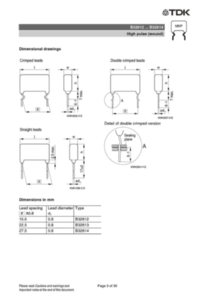Epcos B32612 Series Metallized Polypropylene Capacitors