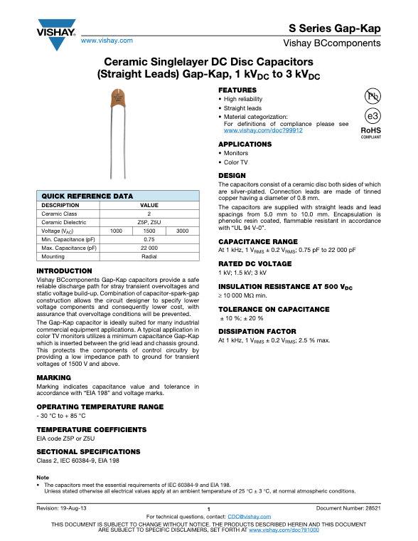 Vishay S Series Gap-Kap Ceramic Disc Capacitors
