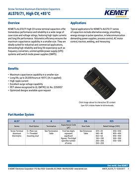 KEMET ALS70/71 Series Aluminum Capacitors