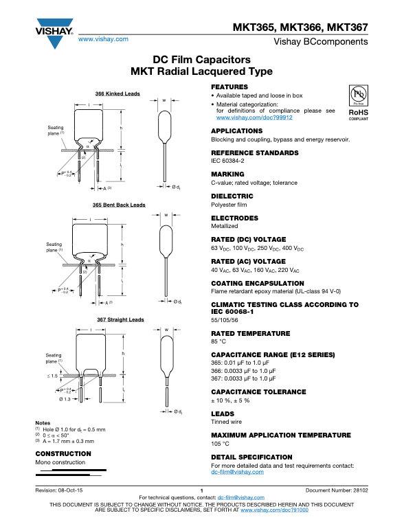 Vishay MKT36x Series Plastic Film Capacitors