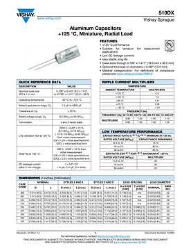 Vishay 510DX Series Radial Aluminum Electrolytic Capacitors