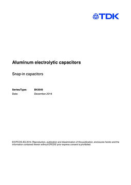 Epcos B43545 Series Aluminum Electrolytic Capacitors