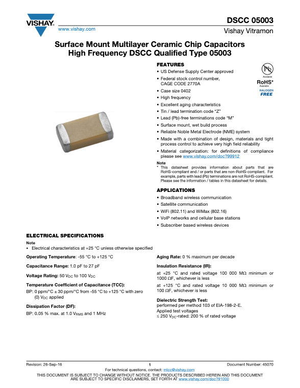 Vishay DSCC 05003 Series MLC Capacitors