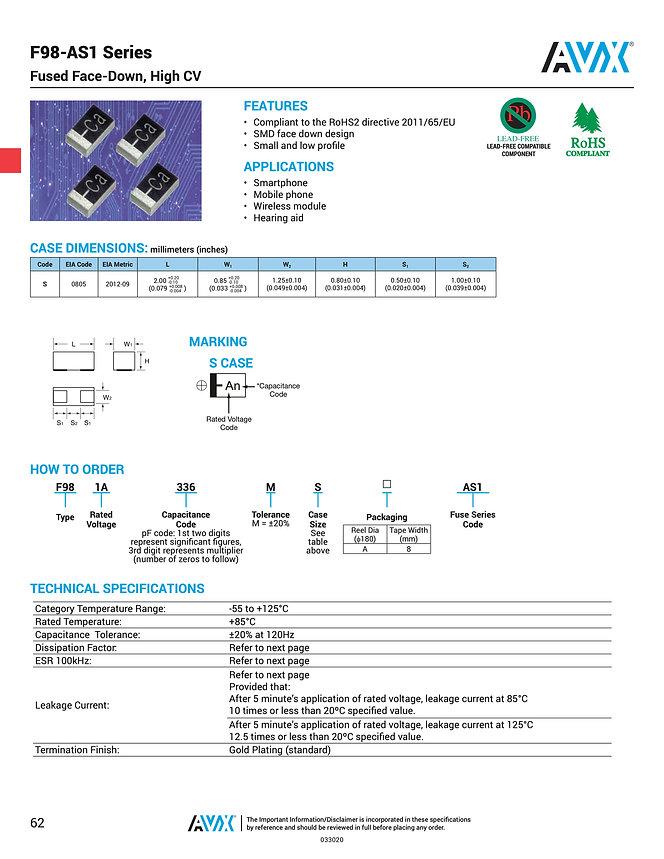 AVX F98 AS1 Series Tantalum Capacitors
