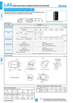 Elna LA5 Series Aluminum Electrolytic Capacitors