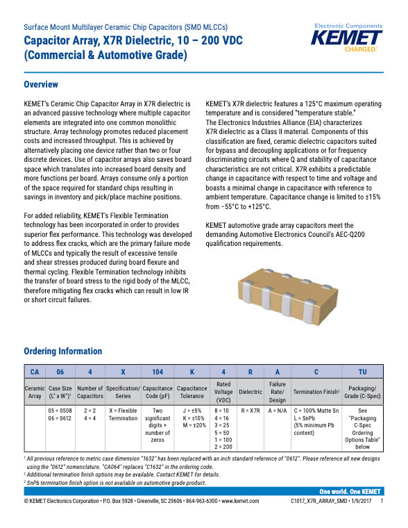 KEMET X7R MLC Capacitor Arrays