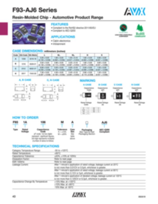 AVX F93 AJ6 Automotive Series Tantalum Capacitors