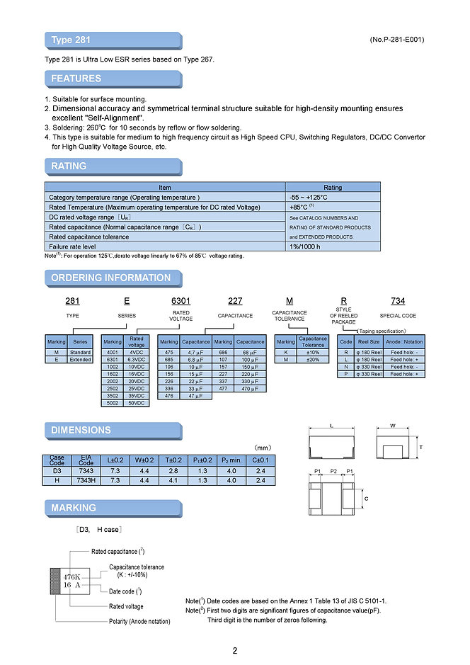 Matsuo 281M/E Series SMT Tantalum Capacitors