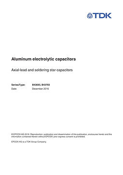 Epcos B43693 Series Aluminum Electrolytic Capacitors