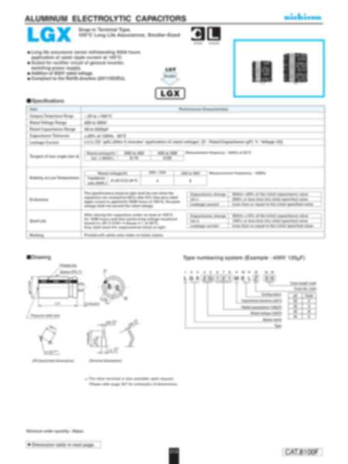 Nichicon LGX Series Aluminum Capacitors