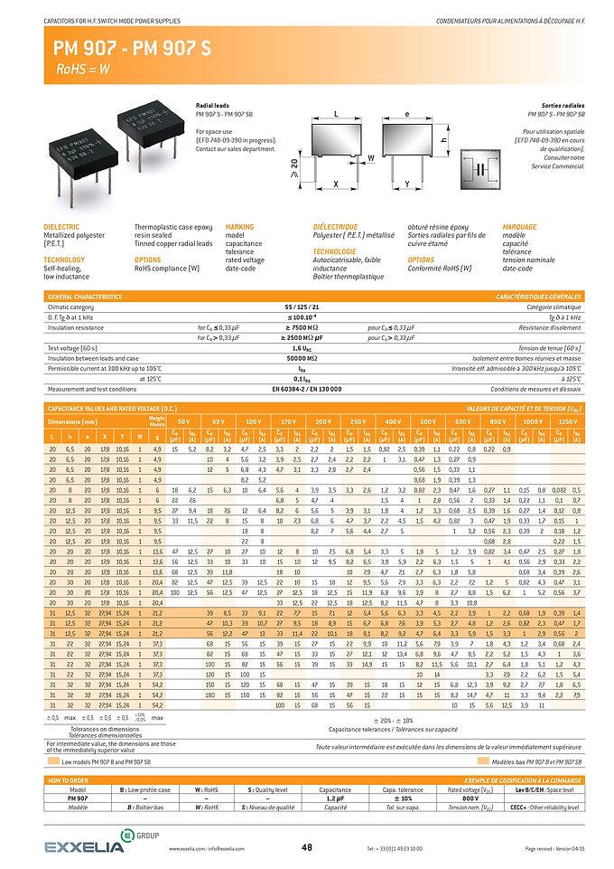 Exxelia PM 907 Series Film Capacitors