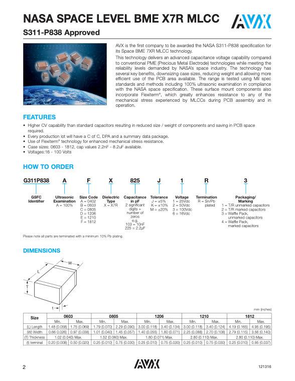 AVX NASA Space Level BME MLC Capacitors