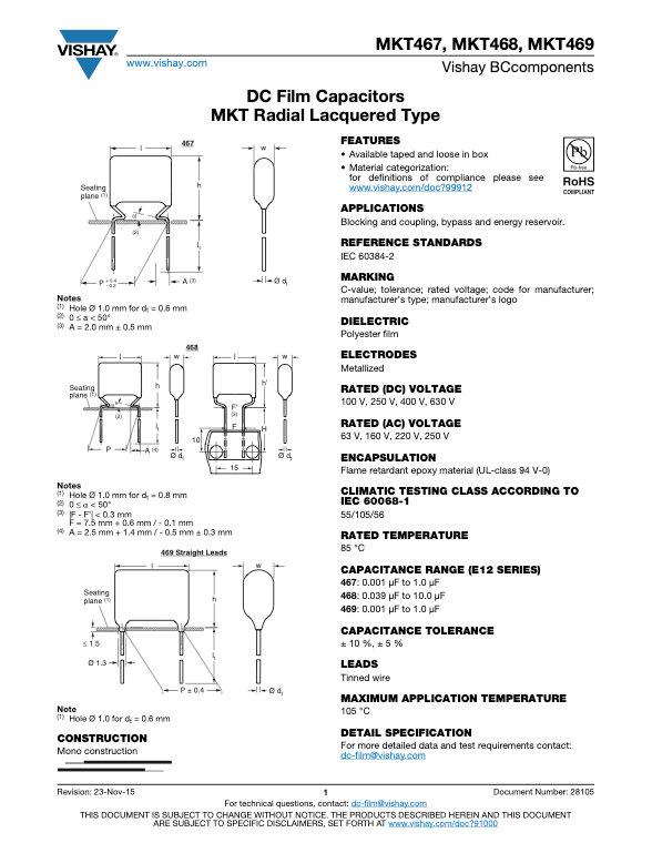 Vishay MKT46x Series Plastic Film Capacitors