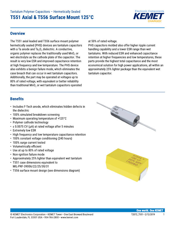 KEMET T551_T556 Series Low ESR Tantalum Capacitors