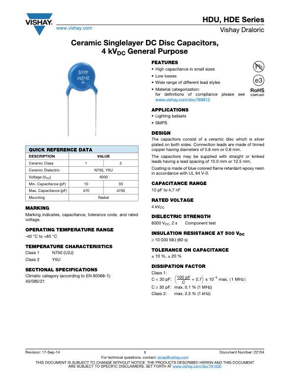 Vishay HD... Series Ceramic Disc Capacitors