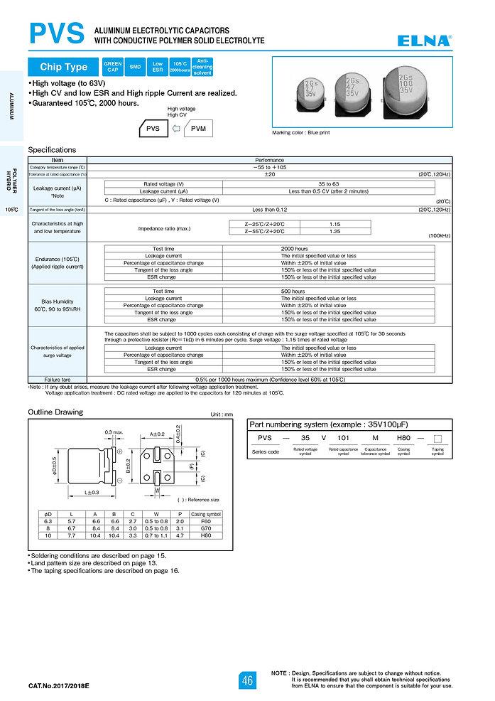 Elna PVS Series Aluminum Polymer Capacitors