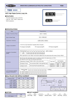 Rubycon YXH Series Radial Aluminum Electrolytic Capacitors