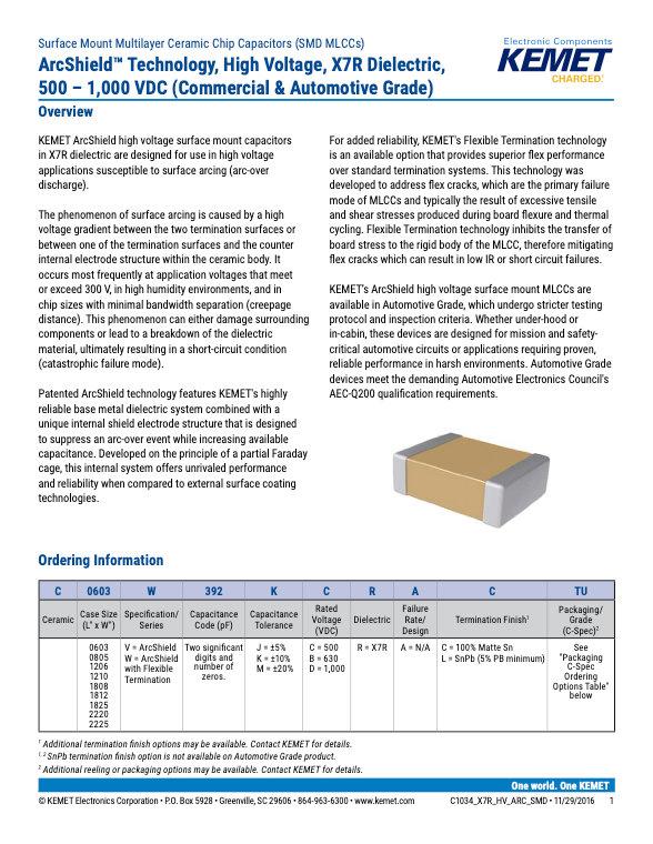 KEMET ArcShield™ Technology MLC Capacitors