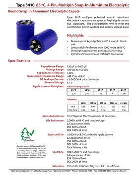 CDE Type 3410 Snap In Aluminum Electrolytic Capacitors