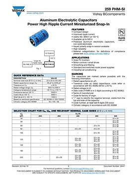 Vishay 259 PHM-SI Series Aluminum Electrolytic Capacitors