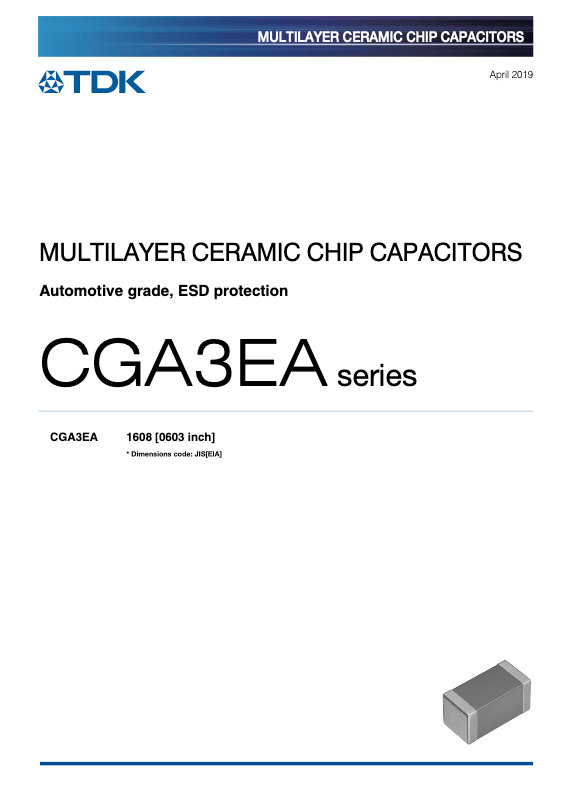 TDK CGA Series Automotive Grade ESD Immune MLC Chip Capacitors