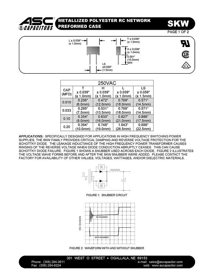 ASC SKW Series Film Capacitors
