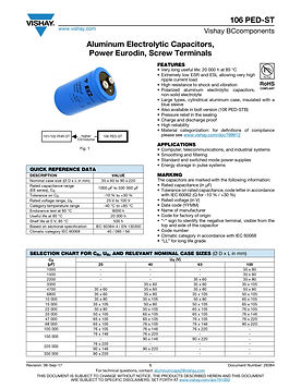 Vishay 106 PED-ST Series Aluminum Electrolytic Capacitors