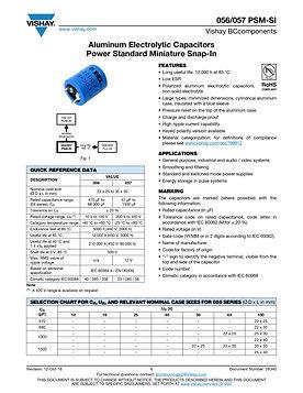 Vishay 056/057 PSM-SI Series Aluminum Electrolytic Capacitors