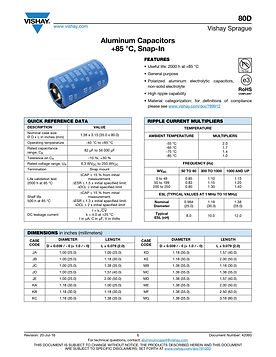 Vishay 80D Series Aluminum Electrolytic Capacitors