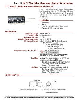 CDE Type SN Aluminum Electrolytic Capacitors