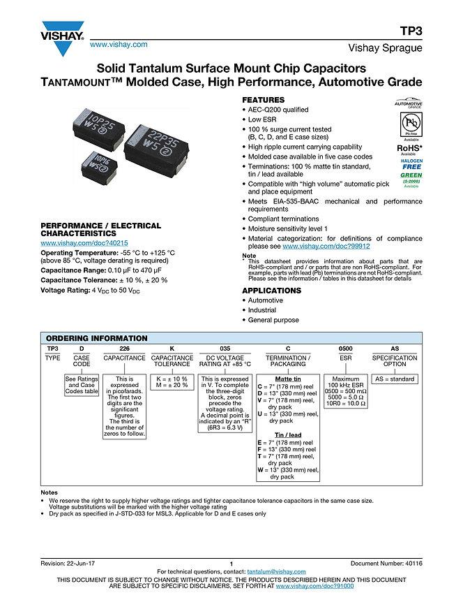 Vishay TP3 Series Tantalum Capacitors